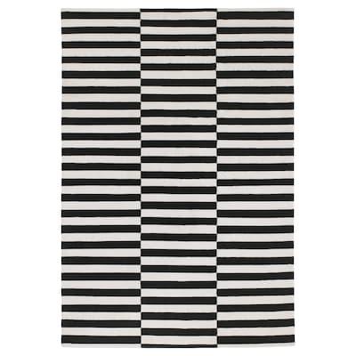 STOCKHOLM Matta, slätvävd, handgjord/randig svart/off-white, 170x240 cm