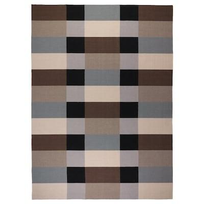 STOCKHOLM Matta, slätvävd, handgjord/rutig brun, 250x350 cm