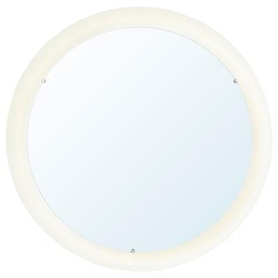 STORJORM Spegel med integrerad belysning, vit, 47 cm