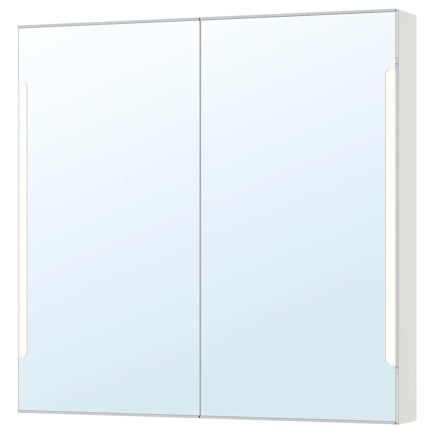 STORJORM Spegelskåp 2 dörrinbyggd belysning vit 100x14x96 cm