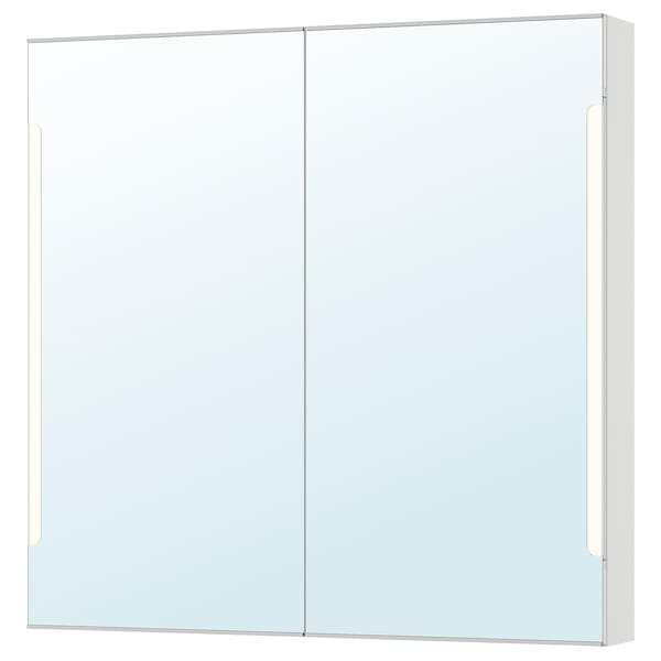 STORJORM Spegelskåp 2 dörr/inbyggd belysning, vit, 100x14x96 cm
