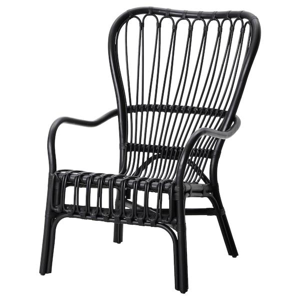 STORSELE Fåtölj med hög rygg, svart, rotting IKEA