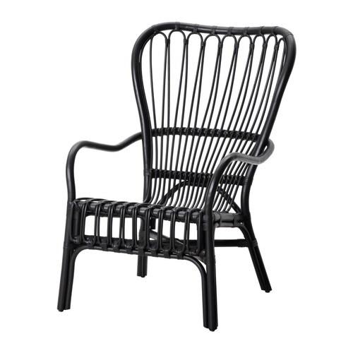 STORSELE Fåtölj med hög rygg, svart, rotting Bredd: 69 cm Djup: 78 cm Höjd: 100 cm Sitsbredd: 45 cm Sitsdjup: 45 cm Sitshöjd: 40 cm