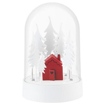 STRÅLA LED bordsdekoration, stugan i skogen röd/vit