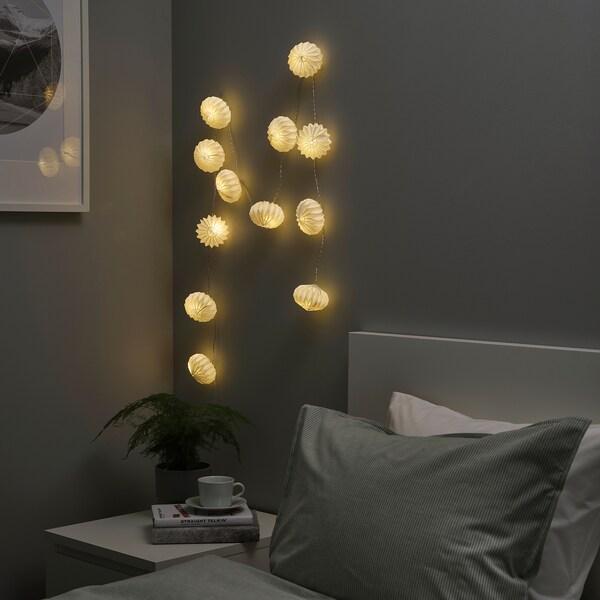 STRÅLA LED ljusslinga med 12 ljus, batteridriven/origami vit