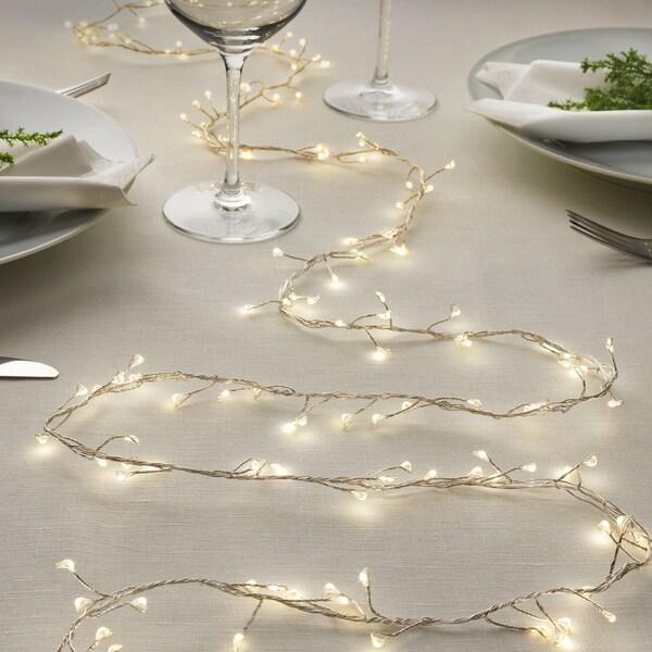 STRÅLA LED ljusslinga med 160 ljus, batteridriven mini