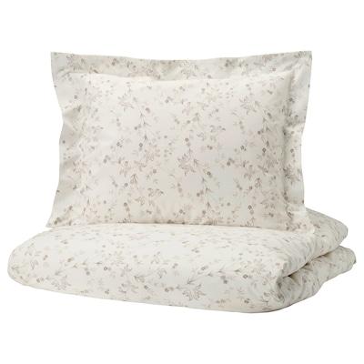 STRANDFRÄNE Påslakan 1 örngott, vit/ljusbeige, 150x200/50x60 cm