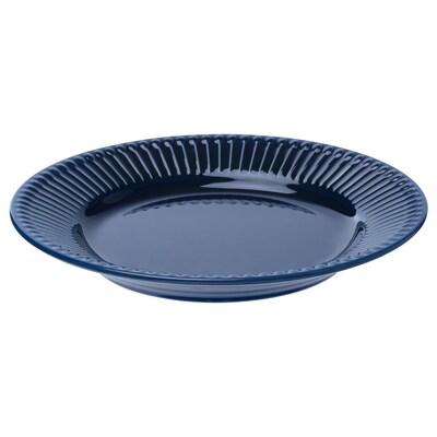 STRIMMIG Assiett, flintgods blå, 21 cm