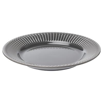 STRIMMIG Assiett, flintgods grå, 21 cm