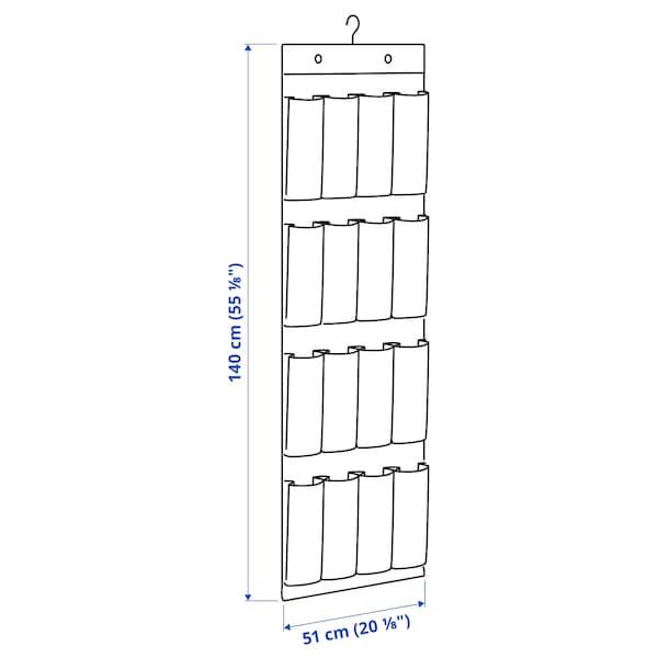 STUK Hängande skoförvaring med 16 fickor, vit/grå, 51x140 cm