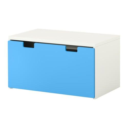 stuva b nk med f rvaring vit bl ikea. Black Bedroom Furniture Sets. Home Design Ideas