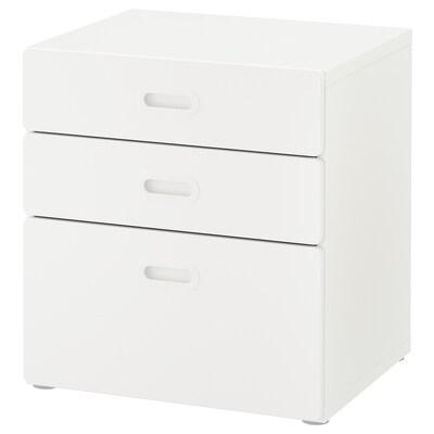 STUVA / FRITIDS Byrå med 3 lådor, vit/vit, 60x64 cm