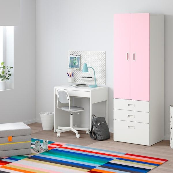 STUVA / FRITIDS Klädskåp, vit/ljusrosa, 60x50x192 cm