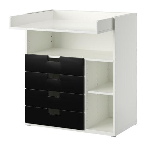 STUVA Skötbord med 4 lådor vit svart IKEA