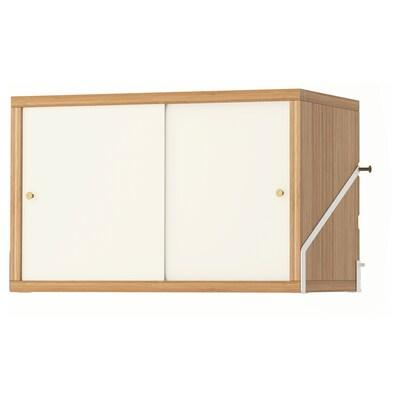 SVALNÄS Skåp med 2 dörrar, bambu/vit, 61x35 cm