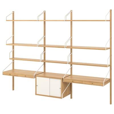 SVALNÄS Väggmonterad skrivbordskombination, bambu/vit, 233x35x176 cm