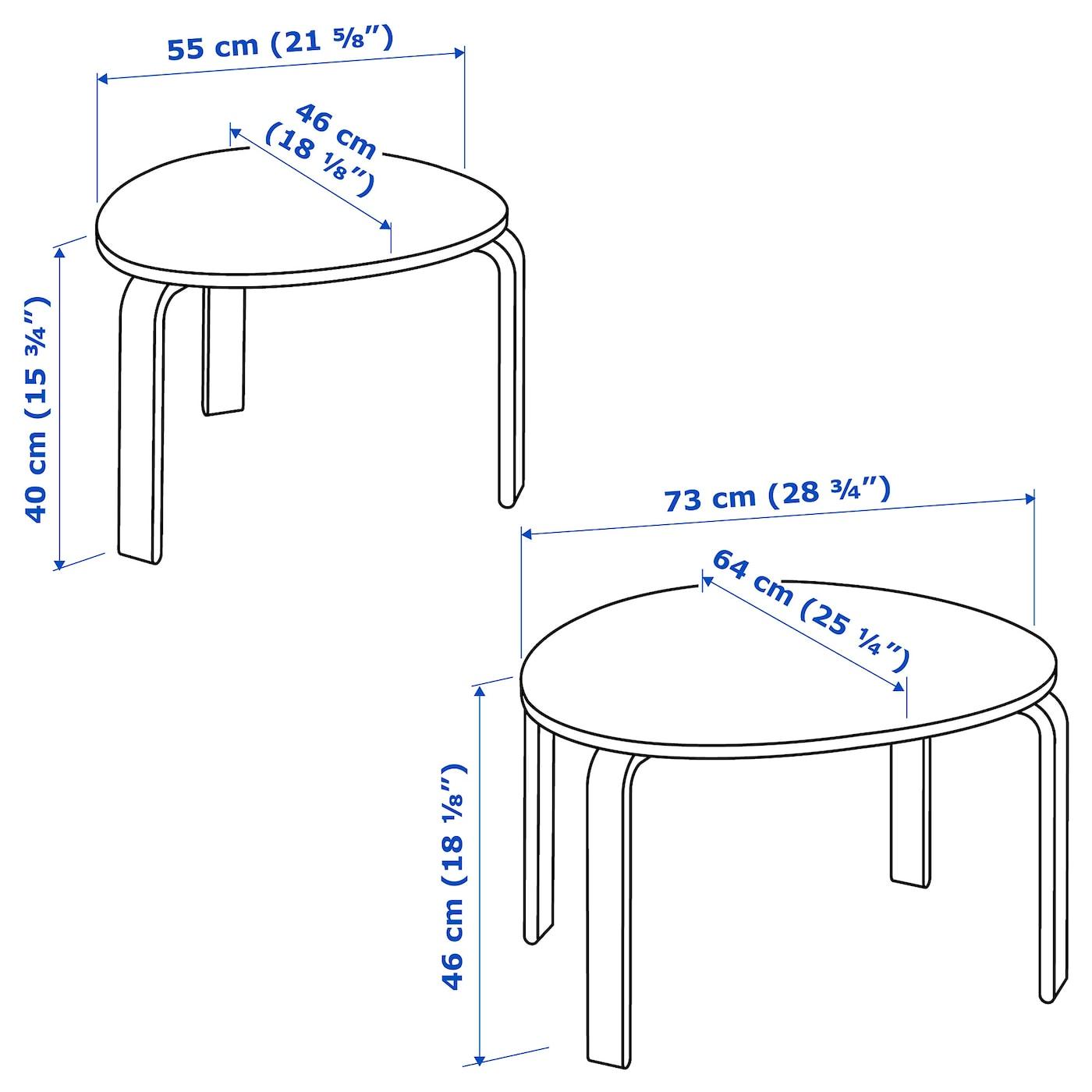 SVALSTA Satsbord, set om 2, björkfaner IKEA