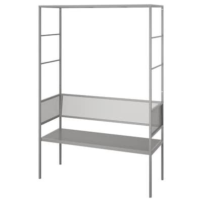 SVANÖ Bänk med spaljé, grå, 119x48 cm