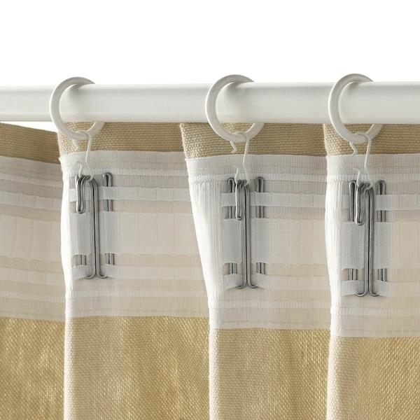 SYRLIG Gardinring med klämma och krok, vit, 25 mm