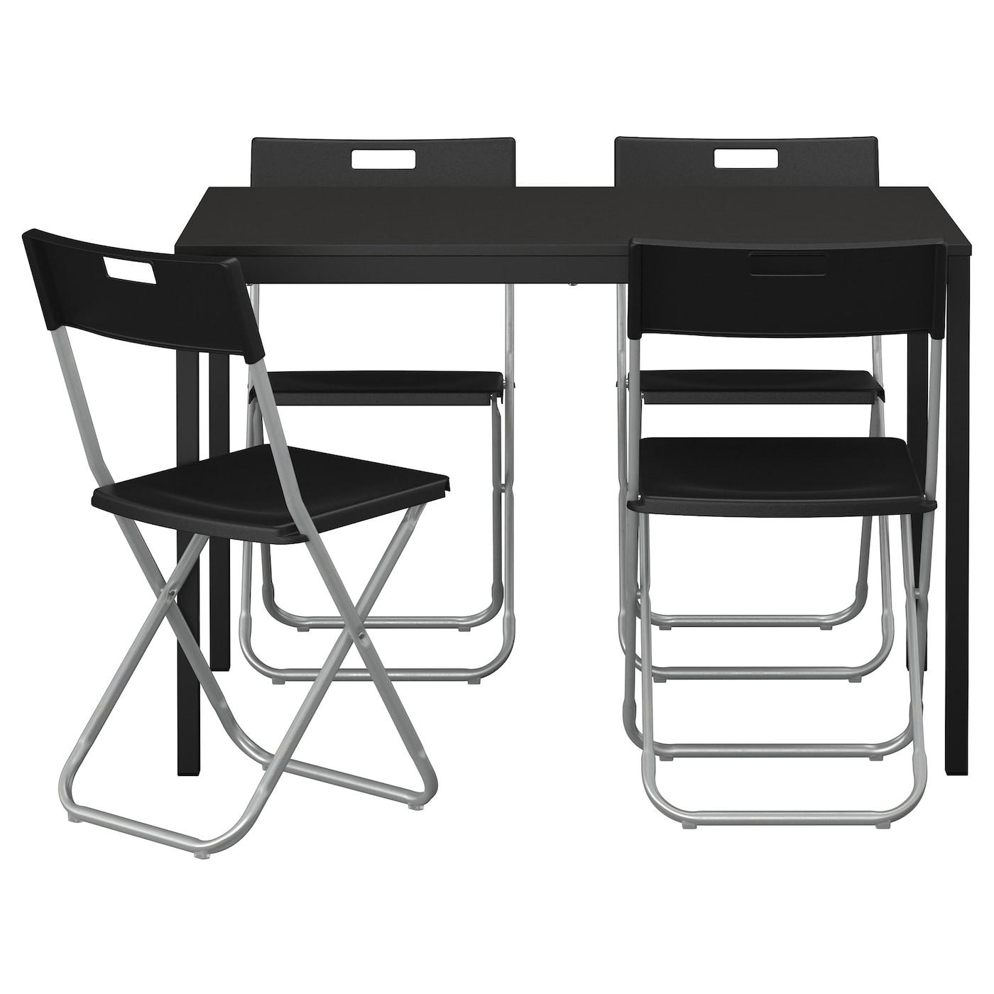 TÄRENDÖ GUNDE Bord och 4 stolar svart 110 cm