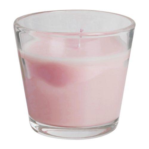TINDRA Doftljus i glas, rosa Höjd: 8 cm Brinntid: 30 tim.