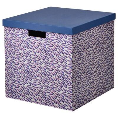 TJENA Förvaringslåda med lock, blå/lila/mönstrad, 32x35x32 cm