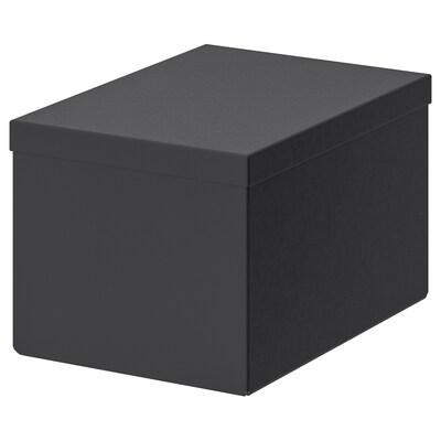 TJENA Förvaringslåda med lock, svart, 18x25x15 cm