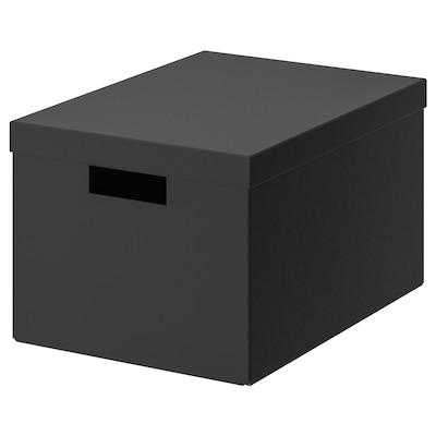 TJENA Förvaringslåda med lock, svart, 25x35x20 cm