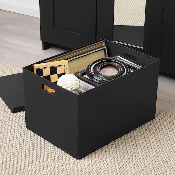 TJENA Förvaringslåda med lock, svart, 35x50x30 cm