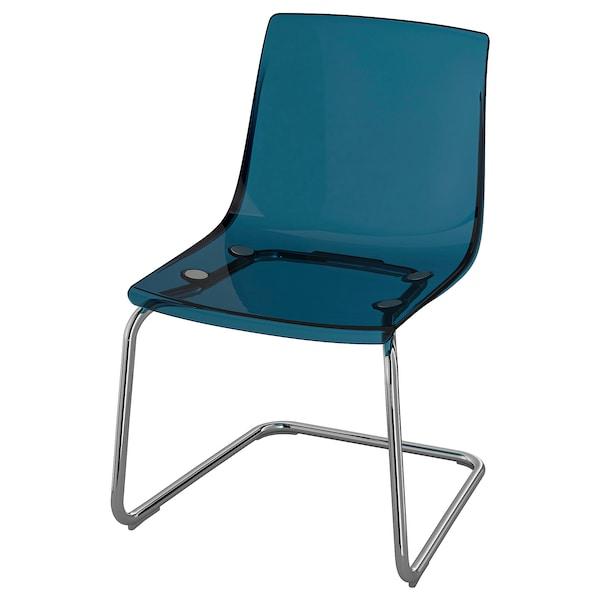 TOBIAS Stol, blå, förkromad IKEA