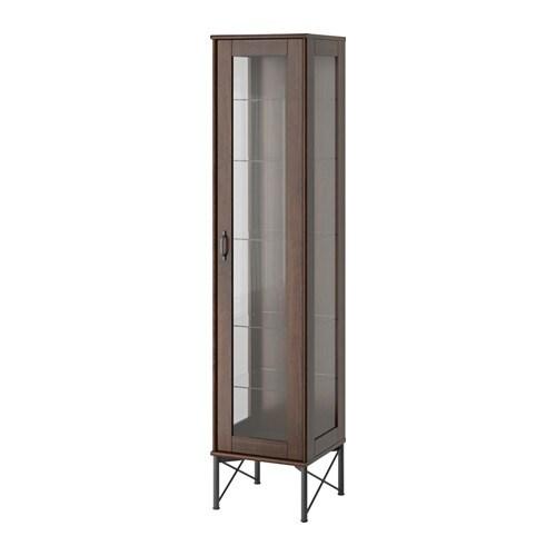 TOCKARP Högskåp med vitrindörr brun IKEA