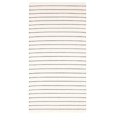 TÖRSLEV Matta, slätvävd, rand vit/svart, 80x150 cm