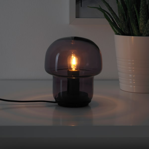 TOKABO Bordslampa, glas lila