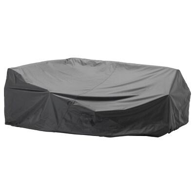 TOSTERÖ Överdrag för utemöbler, soffa/svart, 260x165 cm