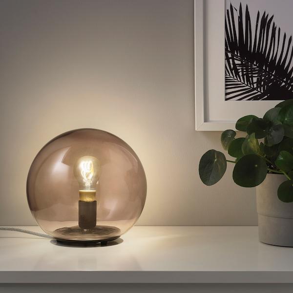 TRÅDFRI LED ljuskälla E27 250 lumen, trådlös dimbar varmt sken/globformad brun klarglas