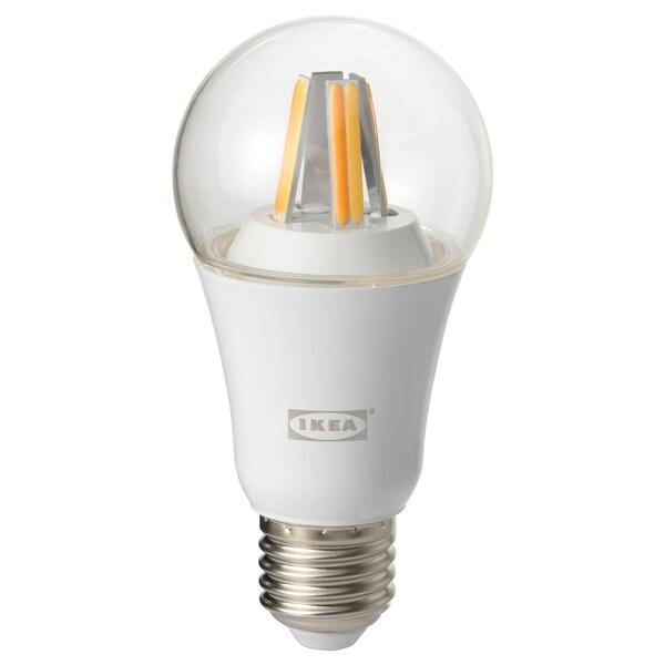 TRÅDFRI LED ljuskälla E27 806 lumen trådlös dimbar vitt spektrum klot klar