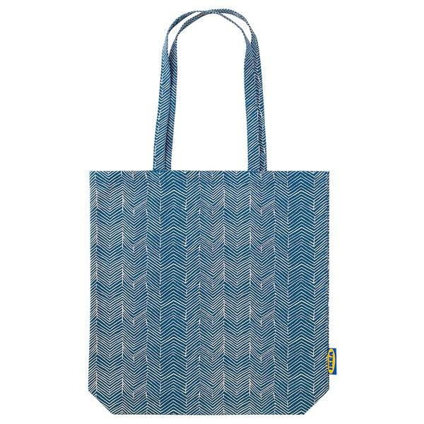 TREBLAD väska blå/beige 40 cm 40 cm