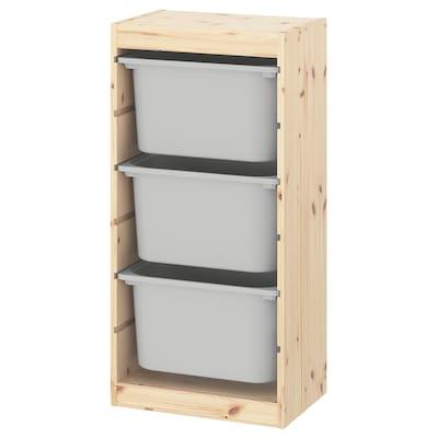 TROFAST Förvaringskombination med backar, ljus vitbetsad furu/grå, 44x30x91 cm