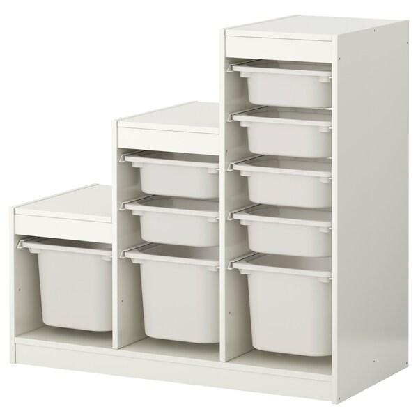 TROFAST Förvaringskombination med backar, vit/vit, 99x44x94 cm