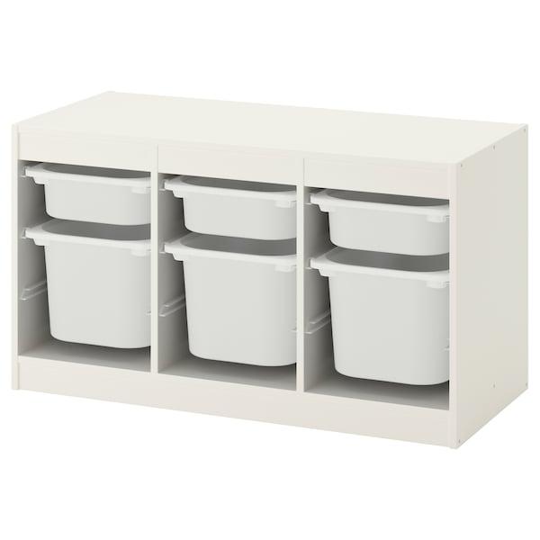 TROFAST Förvaringskombination med backar, vit/vit, 99x44x56 cm