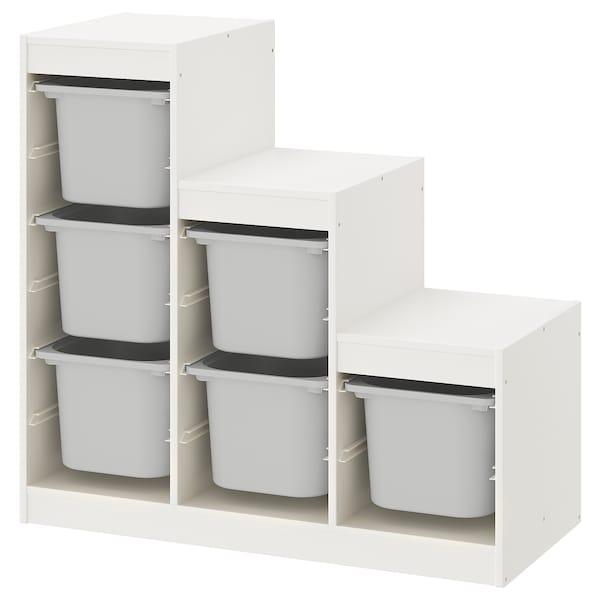 TROFAST Förvaringskombination, vit/grå, 99x44x94 cm