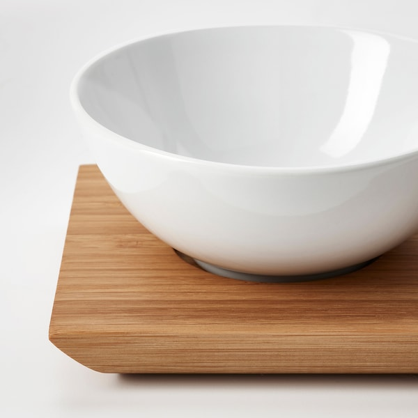 TYNGDLÖS Bricka med 3 skålar, bambu/vit