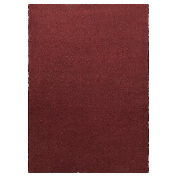 TYVELSE Matta, kort lugg, mörkröd, 170x240 cm