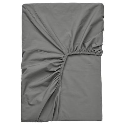 ULLVIDE Dra-på-lakan för bäddmadrass, grå, 90x200 cm