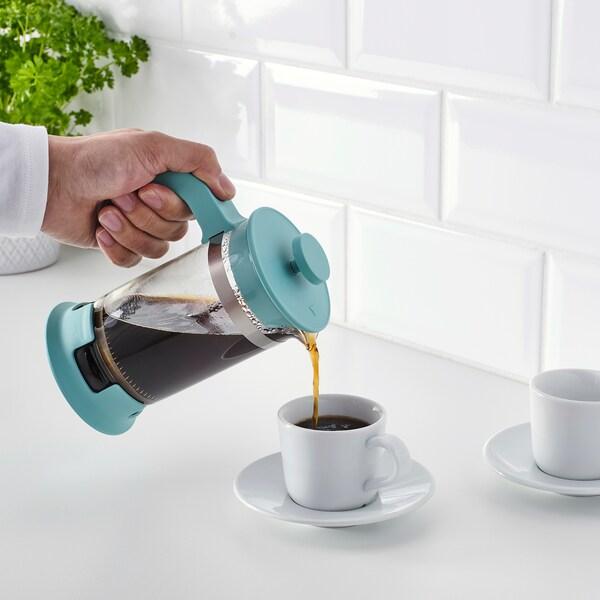 UPPHETTA Kaffe-/tepress, glas/mörkturkos, 0.4 l