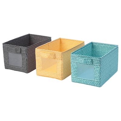 UPPRYMD Låda, svart gul/turkos, 18x27x17 cm