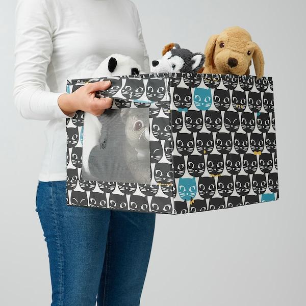 UPPRYMD Låda, vit/svart mönstrad, 38x42x33 cm