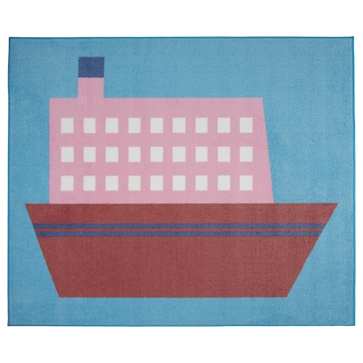 UPPTÅG Matta, båtmönster, 133x160 cm