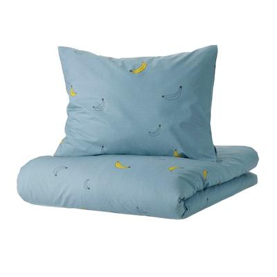 VÄNKRETS Påslakan 1 örngott, bananmönster blå, 150x200/50x60 cm