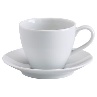 VÄRDERA Kaffekopp med fat, vit, 20 cl